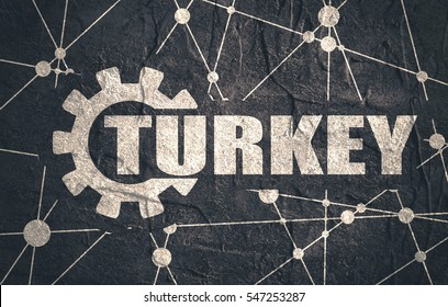 Turkey word build in gear. Heavy industry relative image. Molecule And Communication Background. Grunge textured backdrop. Connected lines with dots.