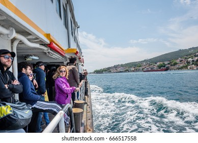 TURKEY,ISTANBUL,20 MAY 2017: People sitting on the boat and traveling through the Marmara sea to Princes islands(Adalar) in Istanbul, Turkey