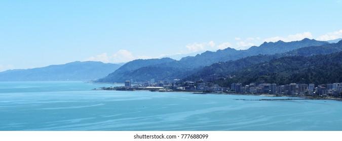 Turkey's Black Sea coast city of Rize with blue tones