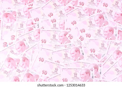 Turkey's currency, the Turkish lira (TL) - 10 Turkish lira