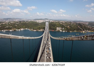 Turkey's most beautiful city istanbul. Views of istanbul bosphorus from the sky. Istanbul's bosphorus bridge.