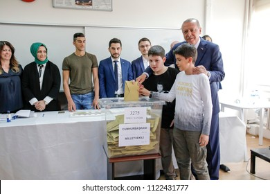 Turkey's president and the ruling Justice and Development Party, or AKP leader Recep Tayyip Erdogan gave a vote 14 JUNE 2018 istanbul at Turkey