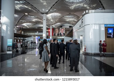 Turkey's Prime Minister Recep Tayyip Erdogan, has opened a new airport in Istanbul. The new airport was named the Istanbul airport. 29 0CTOBER 2018 ISTANBUL  at  TURKEY