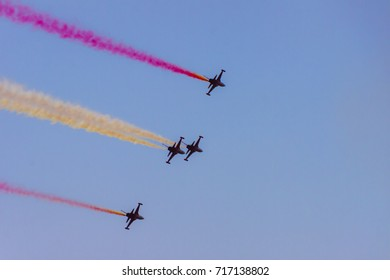 The turkish acrobatic aviation squadron is flying over Izmir (Turkey) to celebrate the anniversary of the liberation of the city from the greek occupation: 9 september 2017.