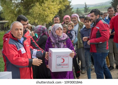 Turkish aid organization (Kizilay), distributed supplies in Afrin 22 March 2018 Afrin - Syria