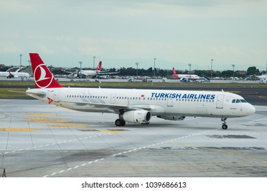 Turkish Airlines Airbus A321 taxiing at Isstanbul Ataturk Airport. June 9, 2017 - Istanbul, Turkey