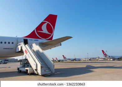 Turkish Airlines aircraft parked in the Istanbul Ataturk Airport. Airbus A 330.  Istanbul - Turkey: 10 March 2019