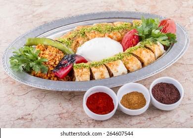 Turkish, Arabian and Greek Traditional Special  cultural Food Kebab Adana, Urfa, Beyti, Abbaganus, Sogurme