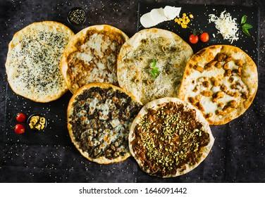 Turkish Arabic cuisine manakish with cheese Zatar egg