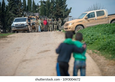 Turkish army and Free Syrian army controlled Afrin city center. 10 March 2018. Afrin - Syria