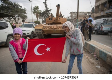 Turkish army and Free Syrian army controlled Afrin city center and distributed humanitarian aid to the local people. 08 March 2018. Afrin - Syria
