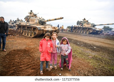 Turkish army and free syrian army operated to Syria 23 February  2018, Afrin - Syria