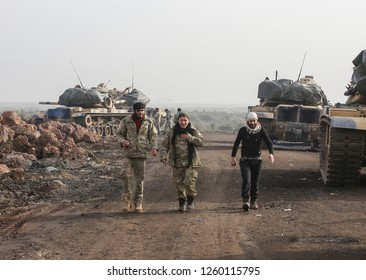 Turkish army and free syrian army operated to Syria 23 February 2018, Afrin at Syria