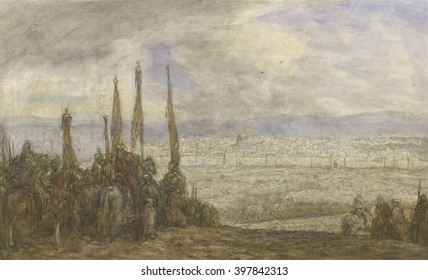 Turkish Army at Jerusalem, by Marius Bauer, c. 1890-1920, Dutch watercolor painting