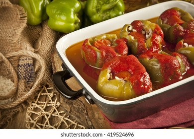 Turkish Asian traditional ramadan food Pepper stuffed with rice and minced meat biber dolma