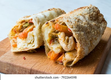 Turkish Avci Boregi / Hunter Pastry Fried Rolls with Chicken and Vegetables
