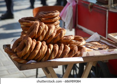 Turkish bagel bread with sesame called Simit in Istanbul.