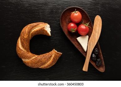Turkish bagel / Cheese / Olive / Tomato - Simit