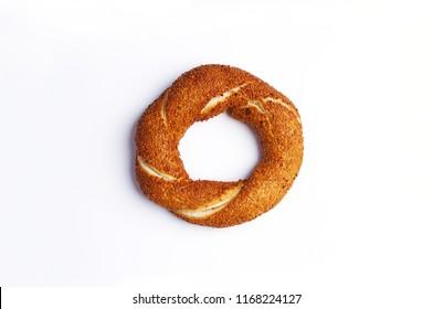 Turkish bagel isolated on white background, street food, simit