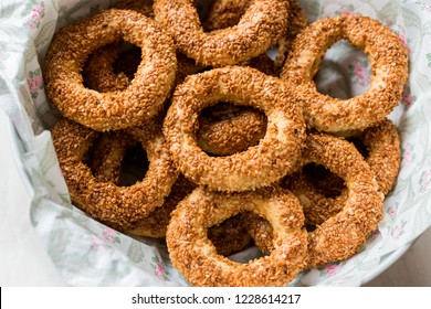 Turkish Bagel Kandil Simidi / Simit with Sesame Seeds.