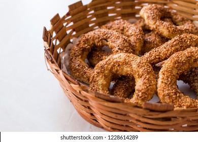 Turkish Bagel Kandil Simidi / Simit with Sesame Seeds.