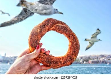 Turkish bagel and seagulls. Simit