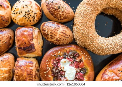 Turkish Bagel / Simit. Turkish bakery products. Assorted Turkish pastry products. Traditional turkish cuisine breakfast culture.
