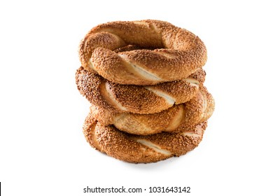 Turkish bagel simit on isolated background