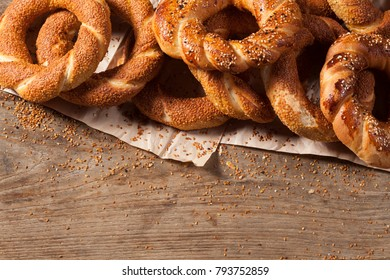Turkish bagel Simit on wooden table