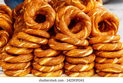 Turkish bagel Simit  with sesame. Bagel is traditional Turkish bakery food.