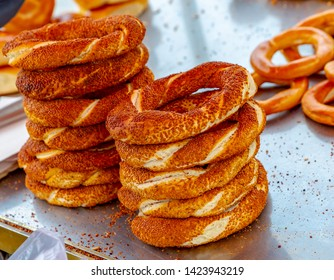 Turkish bagel Simit  with sesame. simit is traditional Turkish round Bagel with sesame seeds.
