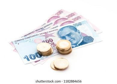 Turkish banknotes and coins. Turkish liras on the white backgrounds.