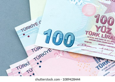 Turkish banknotes, Turkish Lira Numbers macro shot.