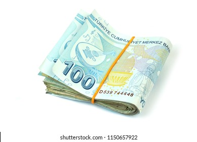 Turkish banknotes. Turkish Lira TRY -  ( TL ) isolated on white background.