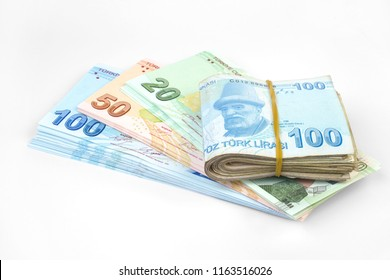 Turkish banknotes. Turkish Lira  TRY or TL   on gray background.