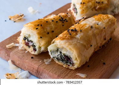 Turkish Borek with Spinach and Pastrami or Pastirma.
