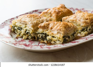 Turkish Borek Talas Boregi / Burek with Spinach and Cheese made with Mille Feuille