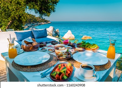 Turkish breakfast coffee ocean view