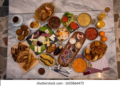 Turkish breakfast with composition on the marble