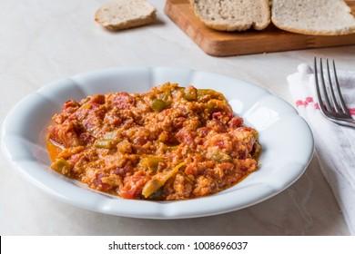 Turkish Breakfast Menemen / Scrambled Eggs with Tomato Paste