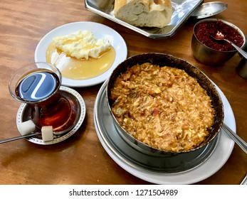 Turkish Breakfast Menemen with Tea . Traditional Food.