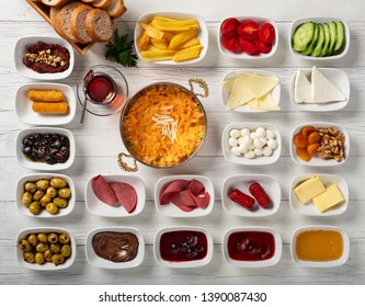 Turkish breakfast served with menemen