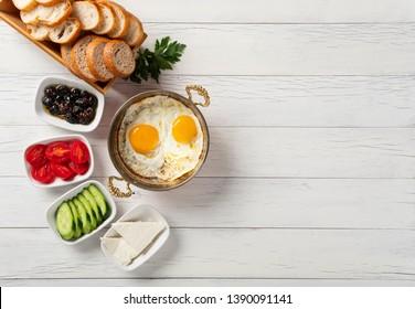 Turkish breakfast, Turkish style eye egg on copper field