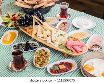 Turkish breakfast - Van breakfast - Van kahvaltısı, tea, egg, olive, cheese