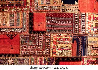 Turkish carpet patchwork handmade. Patchwork pattern, texture background.