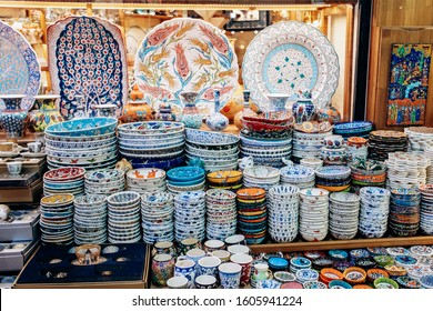 Turkish ceramic tableware is sold in the market