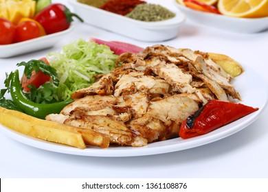 Turkish chicken doner kebab grilled meat