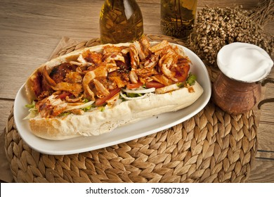 Turkish Chicken Doner Sandwich with pide. (fast food concept)