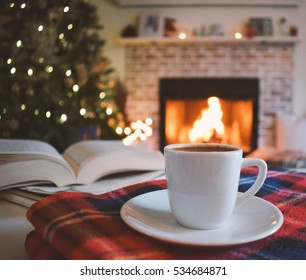 Turkish coffee / book / fireplace