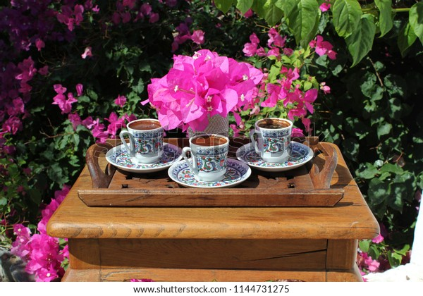 Swell Turkish Coffee Bougainvillea Flowers On Wooden Stock Photo Machost Co Dining Chair Design Ideas Machostcouk